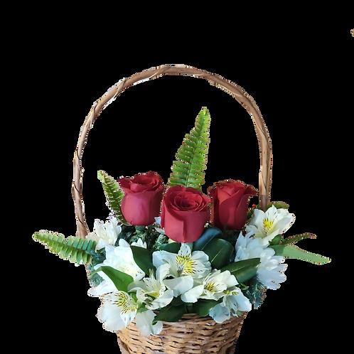 Canasto mimbre 3 rosas + alstromelias + maule + follaje