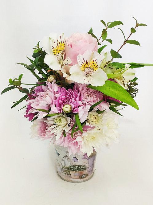 Balde mix floral + rosa