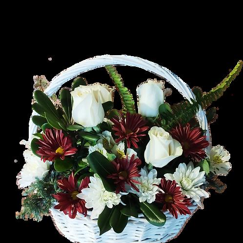 Canasto blanco mix rosas + maule + follaje