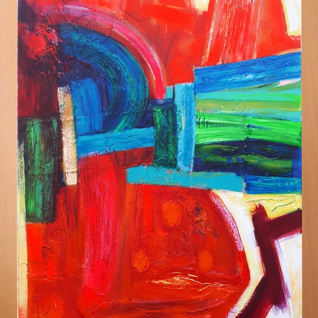 The Sandtreader 76 cms w x102cms h  acrylic on canvas