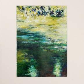 """""""Broomhill pond 1 colour study""""  in a mount"""