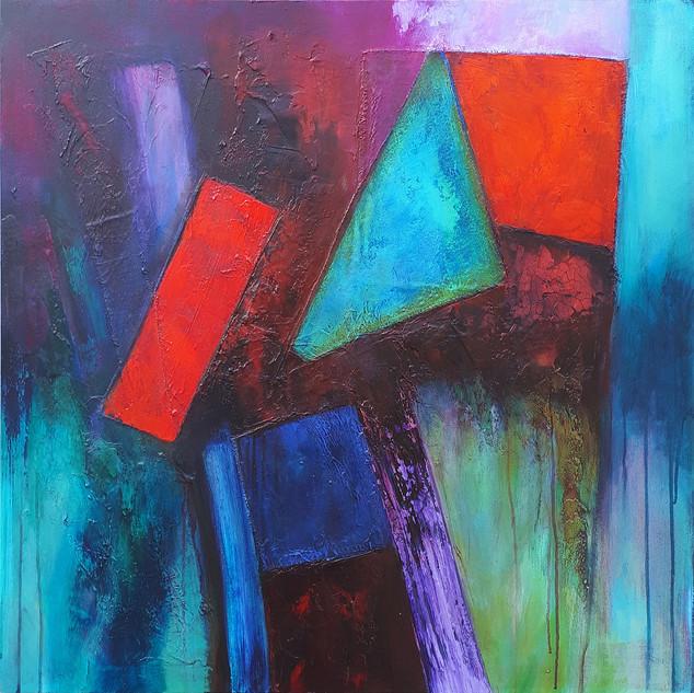 BAYILA 89x89cms acrylic on canvas