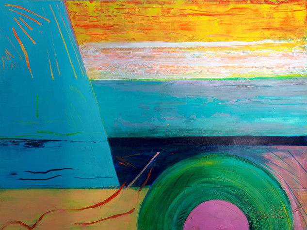 Orange Skies 2019 acrylic on canvas paper