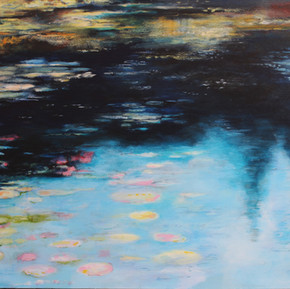 """Melkinthorpe Pond 1""  acrylic on canvas  100cmsW x 70cmsH x 3cmsD"