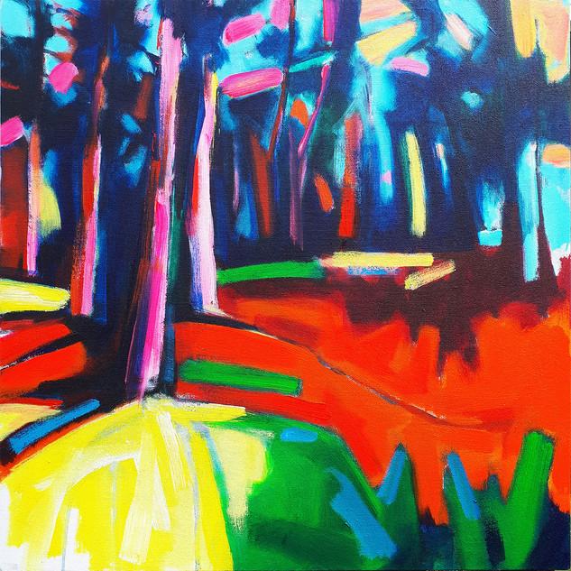 Park Walk 5 2018 acrylic on canvas 50x50cms