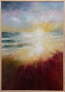 Into The Mystic acrylic on canvas72 x 102 cms framed.
