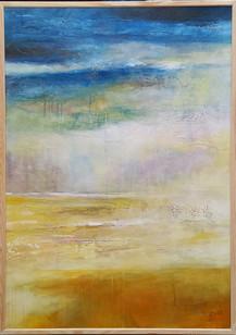 """""""Still Rainin' Still Dreamin"""" in frame 72x102cms acrylic on canvas"""