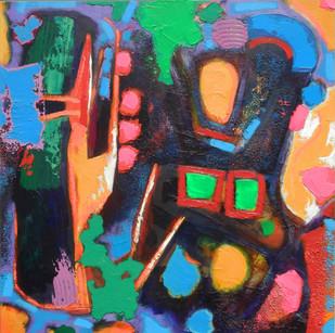 Nazca Dog 2  2014 acrylic on canvas 110x110cms
