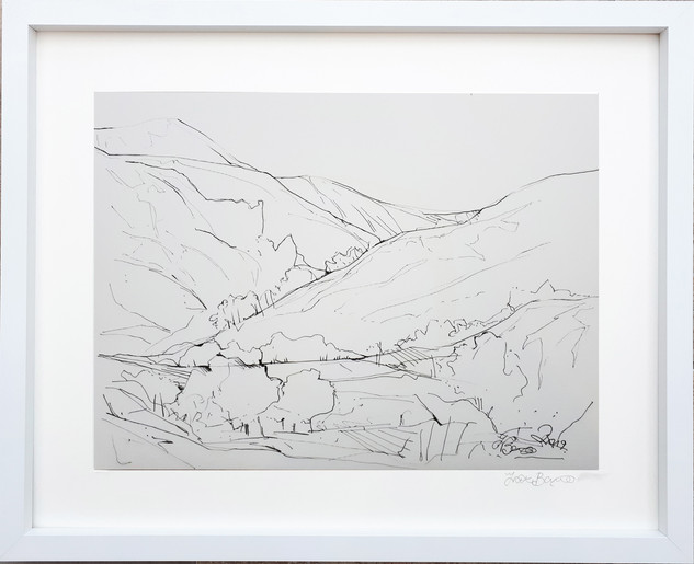 Buttermere Drawing 1  2018 acrylic on canvas paper 40x30cms
