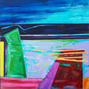 RAINBOW WHARF 90x90cms acrylic on board