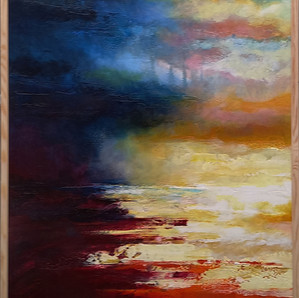 """"""" Moon, Turn The Tides, Gently, Gently Away"""" framed 72x102cms acrylic on canvas"""