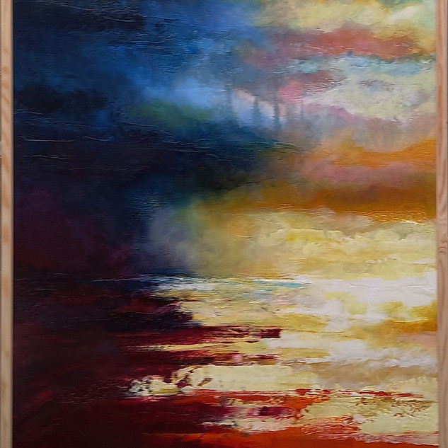 """ Moon, Turn The Tides, Gently, Gently Away"" framed 72x102cms acrylic on canvas"