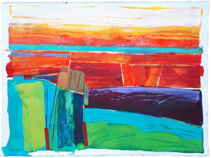 First Light 77x57cms  watercolour, inks and acrylic on 300gms watercolour paper