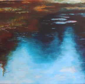 """""""Melkinthorpe Pond 2""""  acrylic on canvas 100cmsW x 70cms x 3cmsD"""
