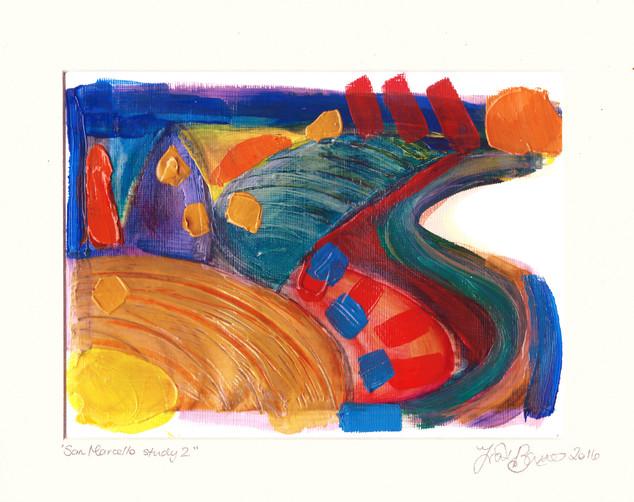 San Marcello study 2  2016  acrylic on canvas paper 25x20cms