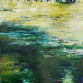 """Broomhill pond 1 - colour study"" 30x40cms acrylic on 300gm canvas paper"
