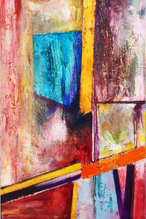 A Place Of Odd Glances acrylic, encaustic and mixed media on canvas