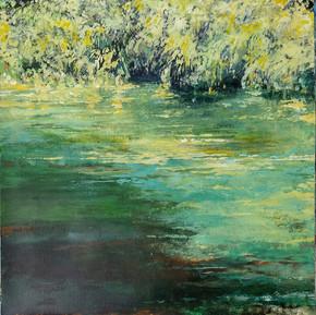 """Broomhill Pond 2 - colour study"" 30x40cms acrylic on 300gm canvas paper"