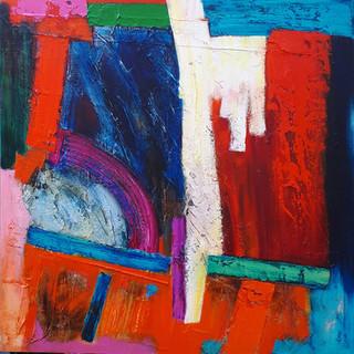 Masqualero - acrylic and mixed media on canvas 90x90cms