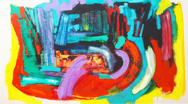 Laburnam Walk 2018 acrylic on canvas135x75cms