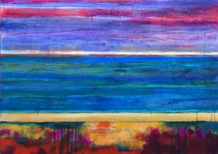 Early Morning Tide 92x65cms acrylic and inks on plywood