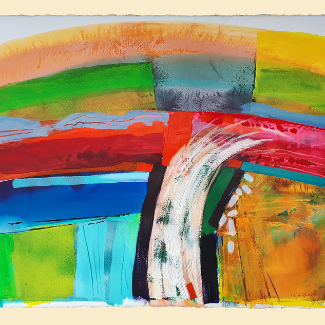 Rydal Sunset float mounted   77cmsWx57cmsH watercolour, inks and acrylic on 300gms Arches Aquarelle paper