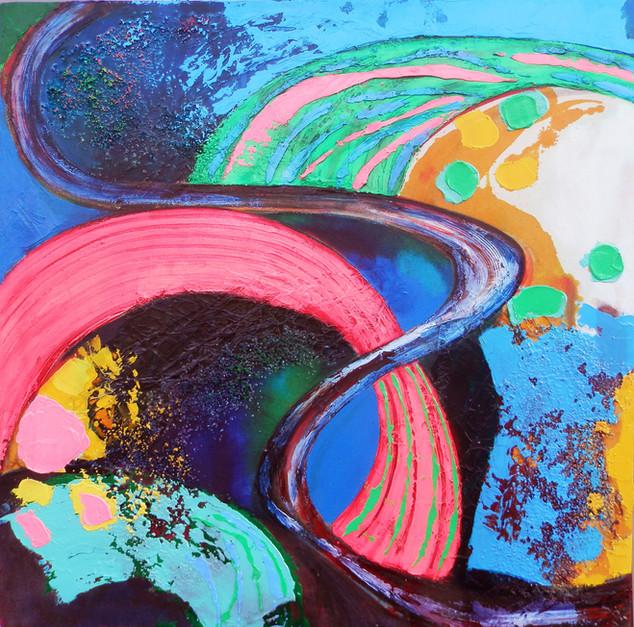 Tuscan Fields 1  acrylic on canvas 75x75cms