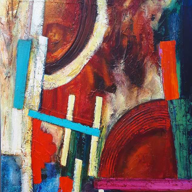 Catembe  acrylic and mixed media on canvas 92x115cms