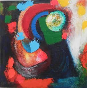 Shineybees 2014 acrylic on canvas 75x75cms