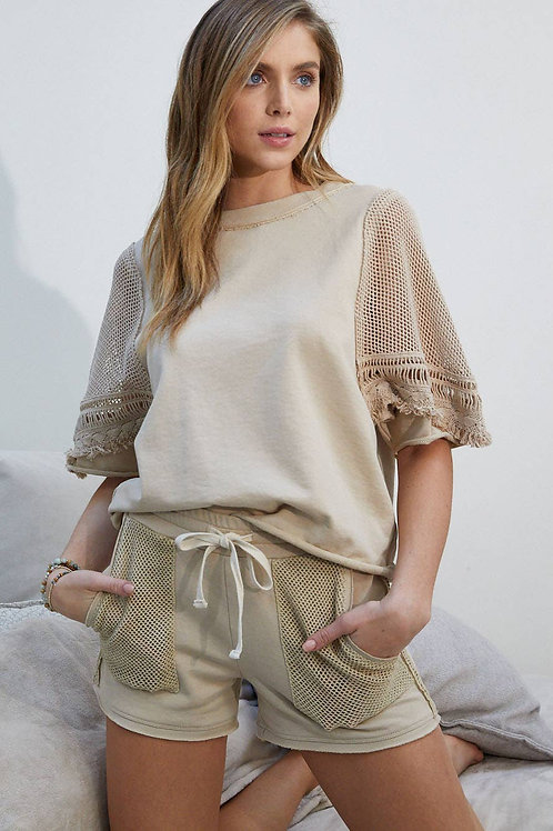 2pc Sand Terry Top w Short