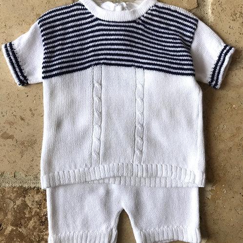 2pc White w/ Navy Knit Set