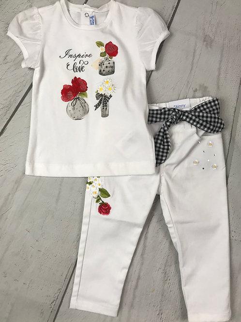 2pc White Vase Tee w/ White Embroidered Pant