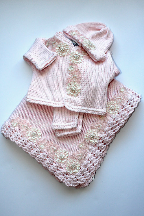 Blanket w/ Pink Ivory Applique