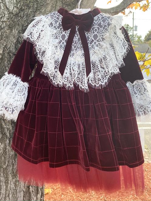 Burgundy Velvet Holiday Dress