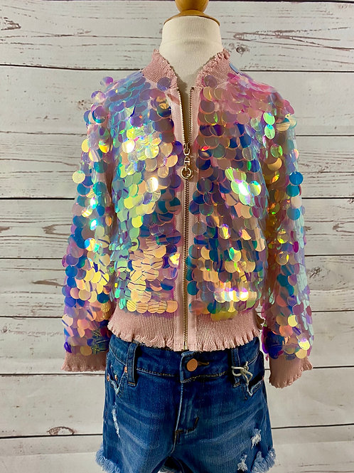 Holographic Sequin Bomber Jacket