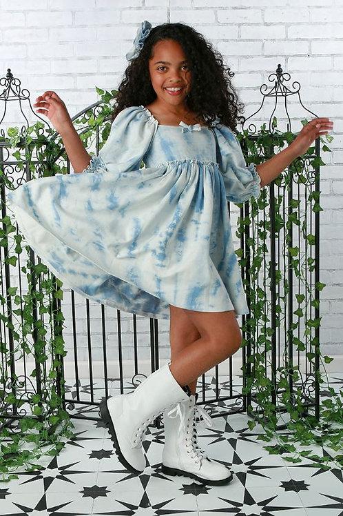 Blue Tie Dye Babydoll Dress