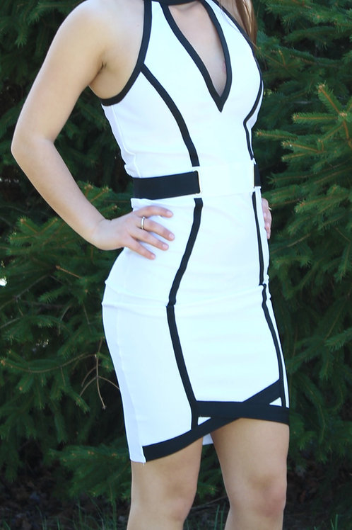 Crystal White Halter Neckline Two Toned Bandage Dress