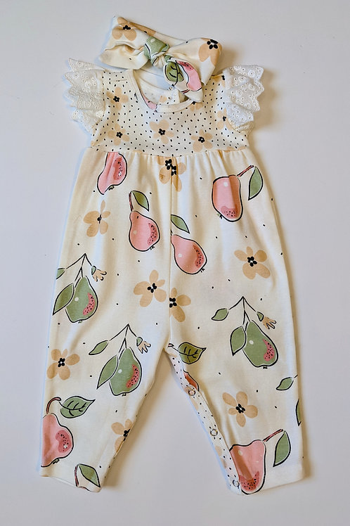 2pc Bloomin Pears Eyelet Flutter Romper and Headband