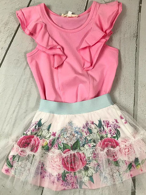 2pc Pink Ruffle Top w/ Floral Mesh Skirt