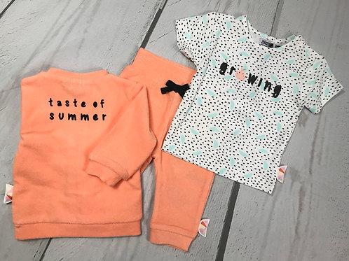 3pc Cantaloupe Terri Cloth Jacket Tee Pant Set