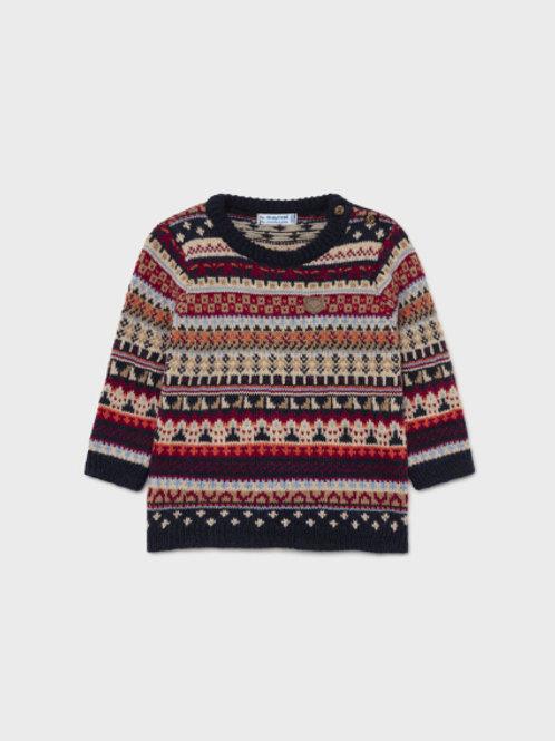 Navy Jacquard Sweater
