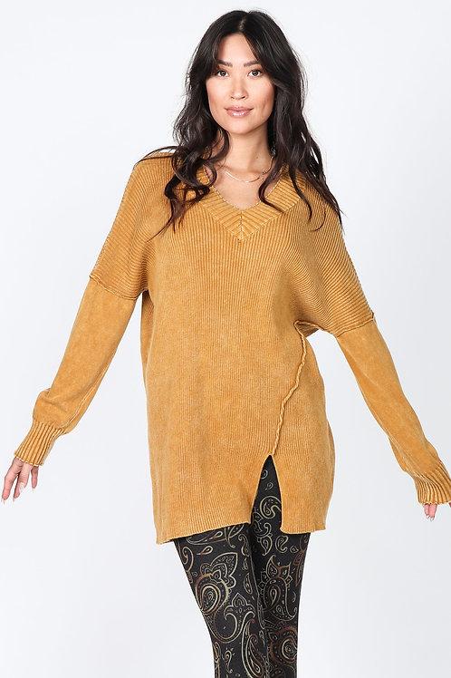 Amber Gold V Sweater