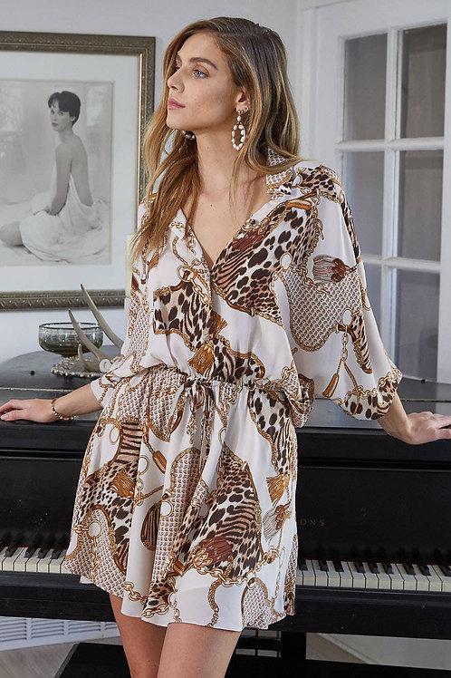 Chain Print Elastic Waist Dress