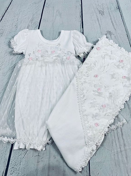 2pc SS White w/ Pink Flower and Headband