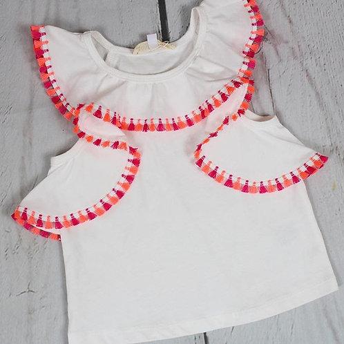 White Ruffle Top w/ Tassel Embellishment