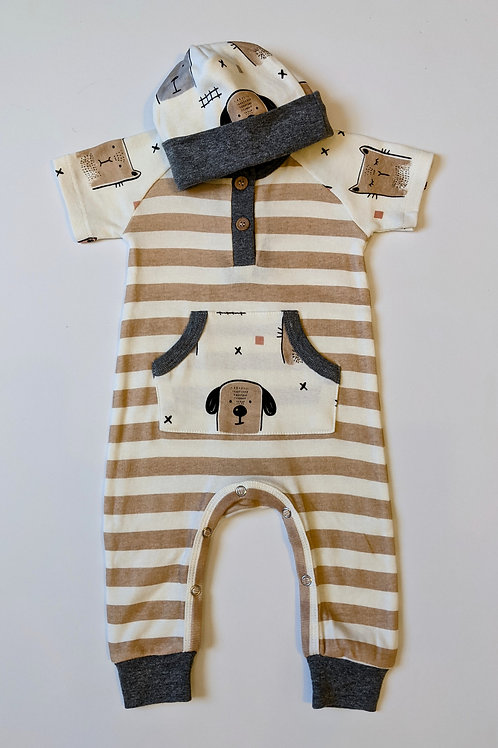2pc Animal Partly Henley Romper