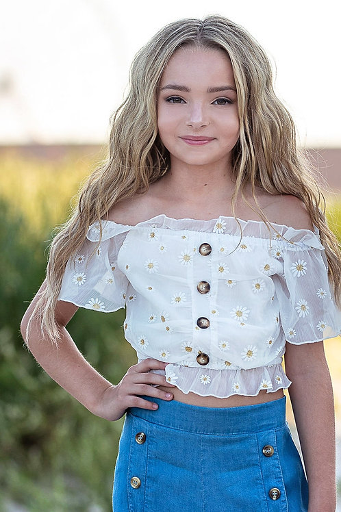 White Button Off the Shoulder Daisy Top