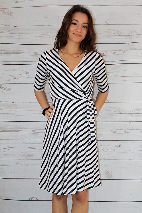 Off White/Navy Dress