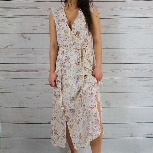 Off-White Ruffle Floral Dress
