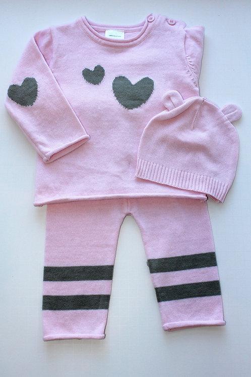 3pc Pink w/ Hearts Pant Set w/ Hat